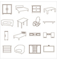 home furniture types outline icons set eps10 vector image