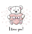 Love card with hand drawn cute bear vector image