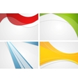 Set of abstract wavy and striped bright vector image