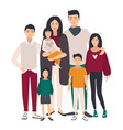 large family portrait asian mother father and vector image