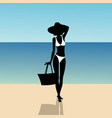 silhouette of a girl on the beach vector image