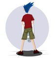 blue hair man on toilet from behind vector image