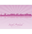 South Portland skyline in purple radiant orchid vector image
