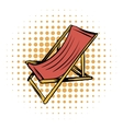 Wooden beach chaise comics icon vector image