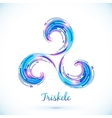 Blue abstract triskele symbol vector image