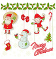 Cartoon collection of christmas characters and ele vector image