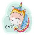 cute cartoon unicorn on a blue background vector image