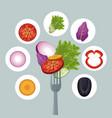 salad vegetables dinner organic fork vector image