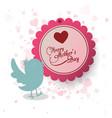 happy mothers day invitation bird heart decoration vector image