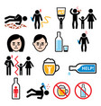 alcoholism drunk man alcohol addiction icons vector image vector image