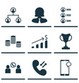 set of 9 human resources icons includes cellular vector image