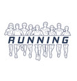 men and women running with text running vector image