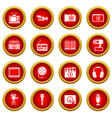 audio and video icon red circle set vector image