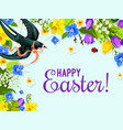 easter spring flower and bird greeting card design vector image