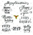 Hand drawn Christmas and New Year holiday vector image
