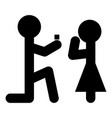 man makes an offer woman stick icon black vector image
