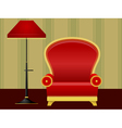 red chair and floor lamp vector image