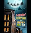 santa flying in sleigh with reindeers in night sky vector image