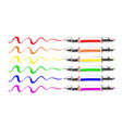 set of multicolor sketch doodles marking pen vector image