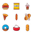 snacks icons set flat style vector image