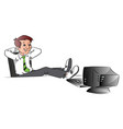 successful businessman relaxing with legs on table vector image