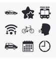 Public transport icons Free bus bicycle signs vector image vector image