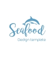 Seafood lettering design with dolphin vector image vector image