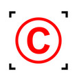 copyright sign   red icon vector image