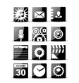 Modern black flat mobile app icon set vector image vector image