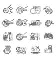 Home cooking black icons set vector image