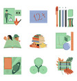 assembly flat icons education school lessons vector image