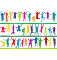 Collection of colored silhouettes jumping vector image