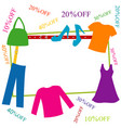 colorful clothing and accessories frame with vector image