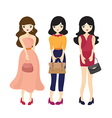 Fashion Girl And Woman Cartoon vector image