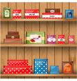 Tin Boxes Shelf vector image vector image