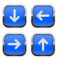 blue glass square buttons with chrome frame white vector image