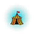 Circus tent icon comics style vector image