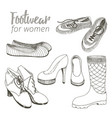a set of footwear for women the sketch on vector image