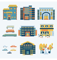 city infographics set with buildings and transport vector image