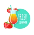 Cocktail and strawberries with text vector image