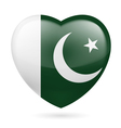 Heart icon of Pakistan vector image