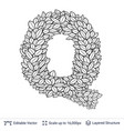 letter q symbol of white leaves vector image