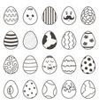 set of cute monochrome doodle easter easter vector image