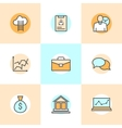 Set of flat line icons of business people vector image