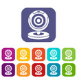 webcam icons set vector image