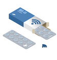 Wi-Fi pills in pack Tablets in box Natural vector image