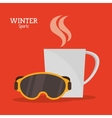 goggles and cup coffee hot winter sport label vector image