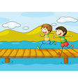 Young boys playing at the bridge vector image vector image