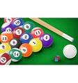 Billiard balls in a pool table vector image