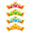 cool golden banners with colorful crystal hearts vector image